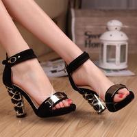 Fashion sandals the capsized scrub cowhide platform sandals noble elegant black fashion sandals party shoes