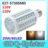 Free shipping 2x 20W 86LED 5730 SMD E27 Corn Bulb Light Maize Lamp LED Light Bulb Lamp LED Lighting Warm/Cool White