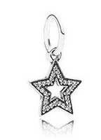 925 Sterling Silver Star Dangle Bead with Clear Cz Fits European Style Jewelry Charm Bracelets & Necklaces