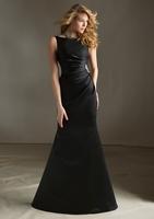 Bateau Pure Color Bodice Sheath Floor Length Rhinestone Appliques Ruffle Mermaid Trumpet Custom Made Satin Evening Dresses