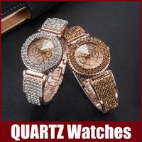 Luxury Shinning Rhinestone Diamond Dial Band Wristwatches Fashion Quartz Watch Women Lady Girls Bracelet Clasp Alloy Band