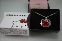New Style Girls Jewelry Fashion Crystal Hello Kitty Pendant Necklaces For Women