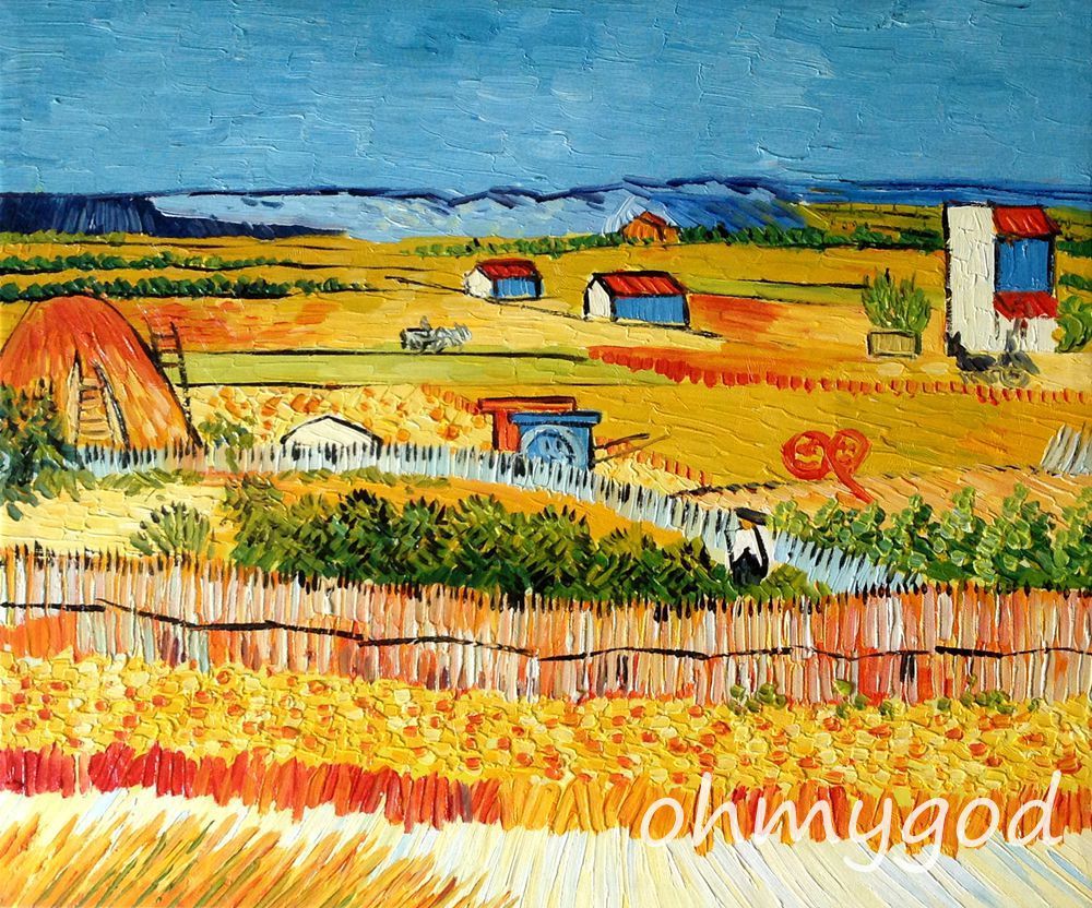 Framed Painting Harvest At La Crau With Montmajour Van Gogh Handmade Wall Art Canvas Decorative oil painting(China (Mainland))