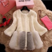 Full leather mink fur overcoat with fox fur bottom hem women outerwear white 2014 winter