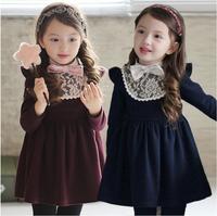 2015 new Spring autumn children's clothing wholesale kids fashion Cotton lace  dress girls Cute winter  princess dress