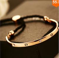 Fashion Casual Designer 14K Real Gold Plated Nail Screws Crystal Bracelet Bangles Women Men Adjustable Bracelet Chain