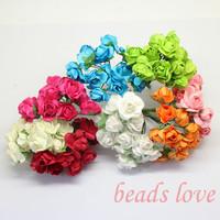 Sale!!! 1.5cm head Multicolor Mulberry Paper Flower Bouquet/ Scrapbooking artificial rose flowers(144pcs/lot) Pick color(w02561)