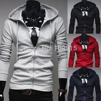 New arrivedFashion Korean Mens Zipper Hooded Sweatshirts Cardigan Coats Slim Fit Jacket