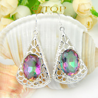 Autumn new rainbow mystic sunshine topaz crystal  925 sterling silver plated earrings for women wedding jewelry