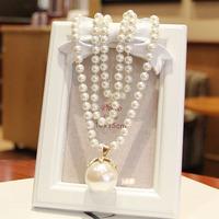 Accessories 2014 fashion multi-layer pearl big pearl pendant long design necklace female
