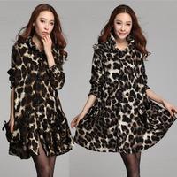 Elegant top quality casual winter Leopard coat women 2014 autumn new Korea long sleeve print coat