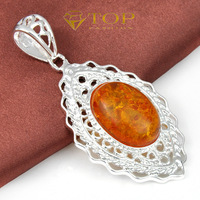 new 2014 _ 925 sterling silver plated amber pendant for women semi-precious stone necelace jewelry