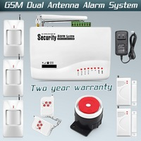 Dual Antenna Home Voice Security Tri-band Antenna Wireless GSM Alarm System with Russian Manual PIR Motion Sensor Free shipping!
