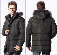 NEW 2014! HOYANP Men down jacket Fur Collar Medium-Long Down Coat Male Casual Down Jacket Men Winter Jacket Big Size 5XL!