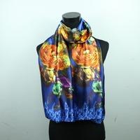 Printing Women Fashion Satin Oil Painting Long Wrap Shawl Beach Silk Scarf 160X50cm style 21-29