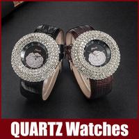 Lovely Cute Watch Women Diamond Rhinestone Dial Window Cartoon Watches Peony Dial Leather Band Big Digital Scale