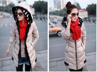 2014 brand new women fashion hooded down coat fitted slim long winter coat real photo L XL XXL XXXL
