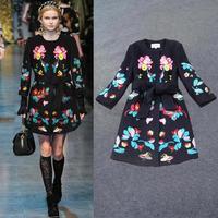 Fashion European Brand Women Vintage Long Trench Coat Slim Fit Black Embroidery Female Overcoat Windbreaker Free Shipping W21764
