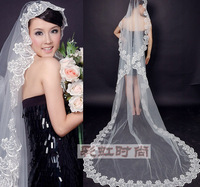 2014 hot sales Long Cathedral Lace Embroider Edge Bridal Wedding Veil White or lovry