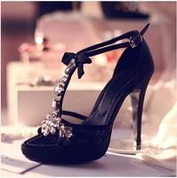 2014 rhinestone black flower bow high-heeled shoes platform thin heels high-heeled sandals sexy