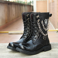 fashion men boots Black Cowleather Genuine leather Size38-43