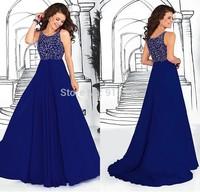 Hot Selling A Line Beadings Tank Royal Blue Chiffon Prom Dresses Long Custom Made 2014