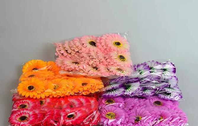 "180pcs 3"" Mixed colors Artificial Africa Chrysanthemum Gerbera Silk Flower Heads Wedding Bridal Bouquet Room table Decoration(China (Mainland))"