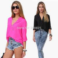 2014 Hitz large size female models in Europe and America long-sleeved casual shirt sleeve shirt chiffon shirt blouse