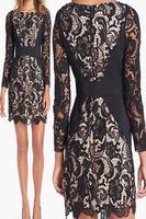 New Dress Fashion New arrival Long-sleeve Lace Spliced Vintage Dress vestido de festa Autumn Dress Sexy Dress Free Shipping