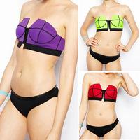 2014 new female fashion Bikini triangle neoprene zipper swimwear bathing suit