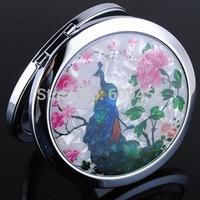 NEW ARRIVAL+ Splendid Peacock Design Crystal Beauty Mirror Bridal Favors Compact mirrors+100pcs/lot+FREE SHIPPING
