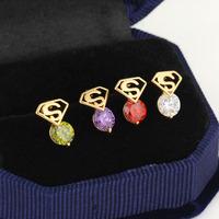 colors Superman irregular shape with drill fashion lady Earrings Ear drill women earrings