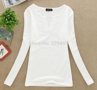 Autumn and winter women's long sleeved T-shirt bottoming shirt Korean women V collar Tees crop tops lady women fashion