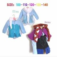 2014 New Winter Frozen Coat Anna & Elsa Girls Coat Hooded Girls Jacket With Wig Kids Outerwear 5 pcs / lot 1364