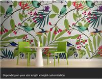 Free shipping custom- modern 3D mural living room sofa bedroom TV background wallpaper Illustrated Birds and Berries Mural