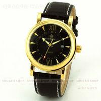MINGEN SHOP - Luxury Men Black Faux Leather Black Dial Quartz Date Dress Cuff Watch Q658