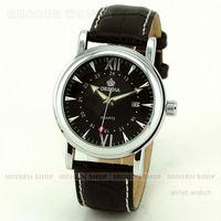 MINGEN SHOP - Classic Orkina Men Silver Case Black Faux Leather Black Dial Business Quartz Date Suit Cuff Watch Q656