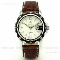 MINGEN SHOP - Casual Silver Black Round Case Men Quartz Sport Faux Leather Date watch