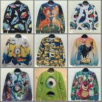 2014 Fashion Women/Men printed Pullovers 3D sweatshirt cartoon animals printed sweaters casual Hoodies top Free shipping