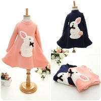 2014 autumn and winter on the new children's dress cute bunny girls plus velvet long-sleeved chemisexjh14