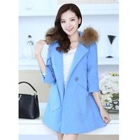 2014 free shipping  loose wool   coat medium-long raccoon fur woolen outerwear thickening jacket