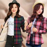Women's plus velvet thickening thermal shirt female long-sleeve sanded plaid slim shirt
