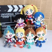 Anime Sailor Moon Sailor Venus Sailor Mercury Sailor Mars Sailor Jupiter Soft Stuffed Toy Plush Dolls 16cm 7pcs/lot