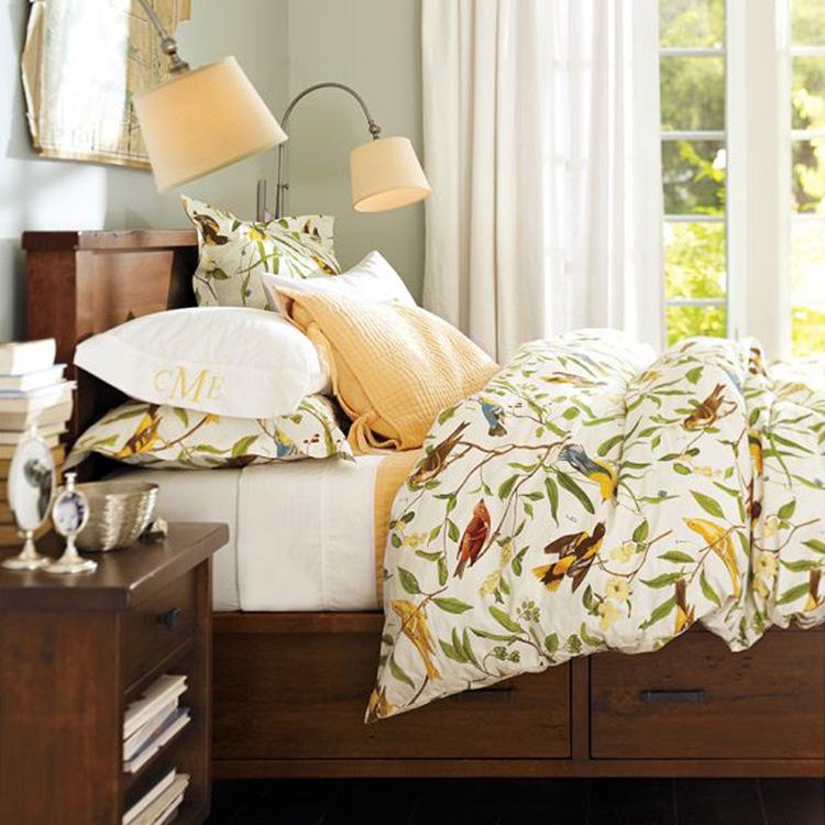 Flor impresso cama set de luxo 4 pcs pastoral conjunto consolador rei queen size roupa de cama(China (Mainland))