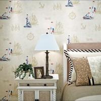 Sailing boat child non-woven wallpaper british style cartoon mediterranean corsair yacht  paper papel de parede floral tapete