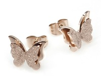 Lovejewelry Stainless Steel Frosted Rose Gold Plated Butterfly Stud Earrings