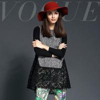 2014 fashion high quality vintage cutout lace patchwork top a flower shirt blouse