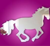 Acrylic crystal mirror Horse 3D wall stickers cartoon home decoration mirror wall sticker christmas decoration home decor