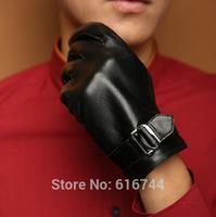 2014 New Deluxe Men's Smart Touch Screen Gloves Genuine Sheepskin Leather Fleece Lined Metal Buckle Black M L XL