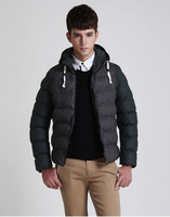 Men's clothing winter cotton-padded jacket male PU patchwork wadded jacket male slim design short outerwear with a hood